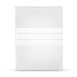 Sachets à fermeture par pression en PELD avec 3 bandes blanches 75 microns
